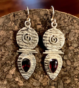 Garnet Earring set in Sterling Silver