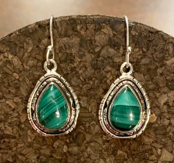 Malachite Earring set in Sterling Silver