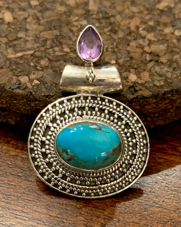 Turquoise and Amethyst Pendant set in Sterling Silver