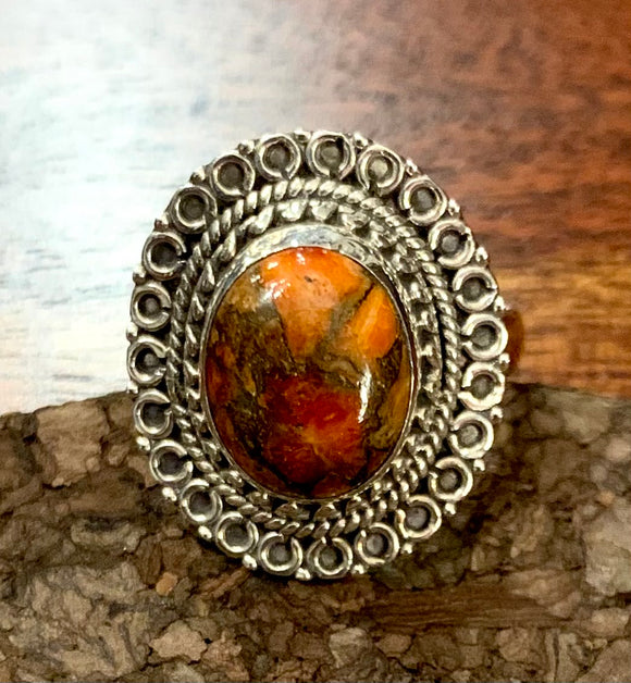 Red Copper Turquoise Ring set in Sterling Silver available in other stones