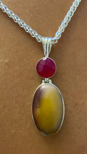 Mookaite & Agate Pendant set in Sterling Silver