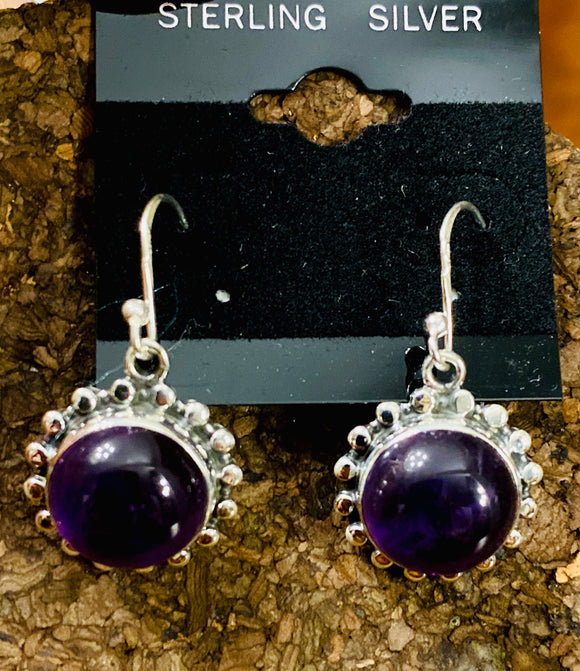 Amethyst Cab Earrings set in Sterling Silver also available in other stone options