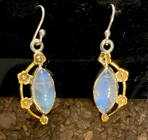 2-Tone Moonstone Earrings set in Sterling Silver