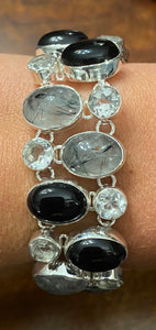 Crystal Quartz and Moonstone Cluster Bracelet available in other stone options
