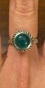 Green Onyx Ring set in Sterling Silver
