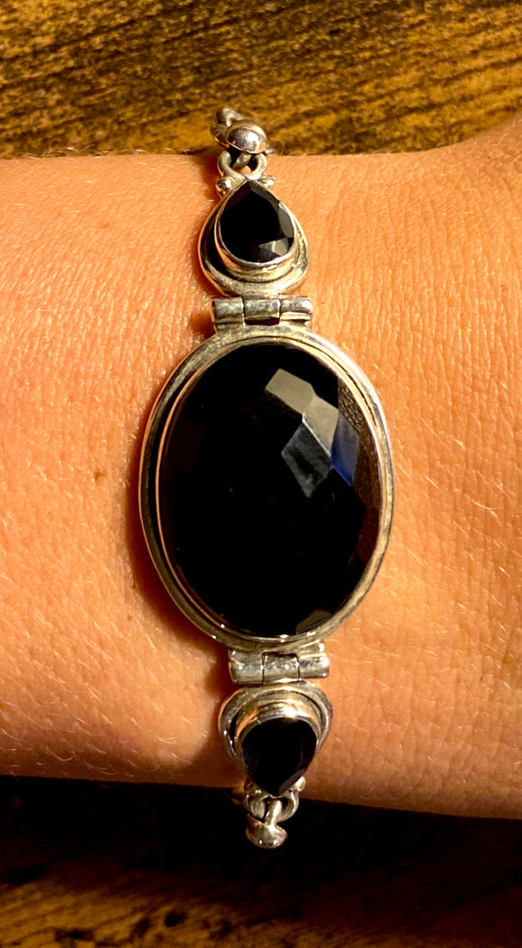 Faceted Onyx Bracelet set in Sterling Silver