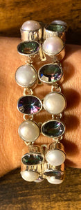Pearl and Mystic Topaz Bracelet set in Sterling Silver