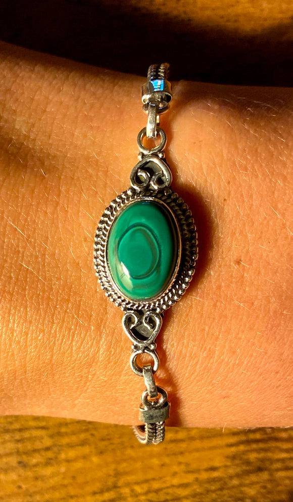 Malachite Bracelet set in Sterling Silver