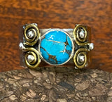 2-Tone Blue Copper Turquoise Ring also available in other stones