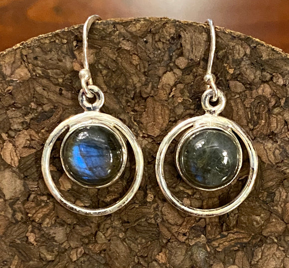 Labradorite Earrings set in Sterling Silver also available in more stones