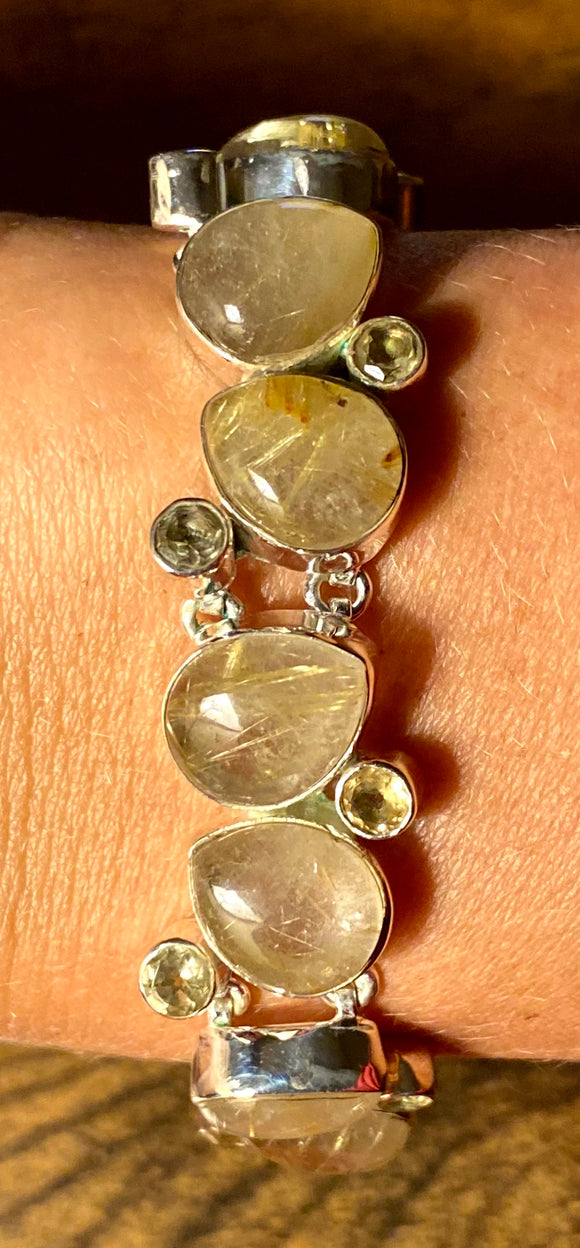 Golden Rutile-Citrine Bracelet set in Sterling Silver