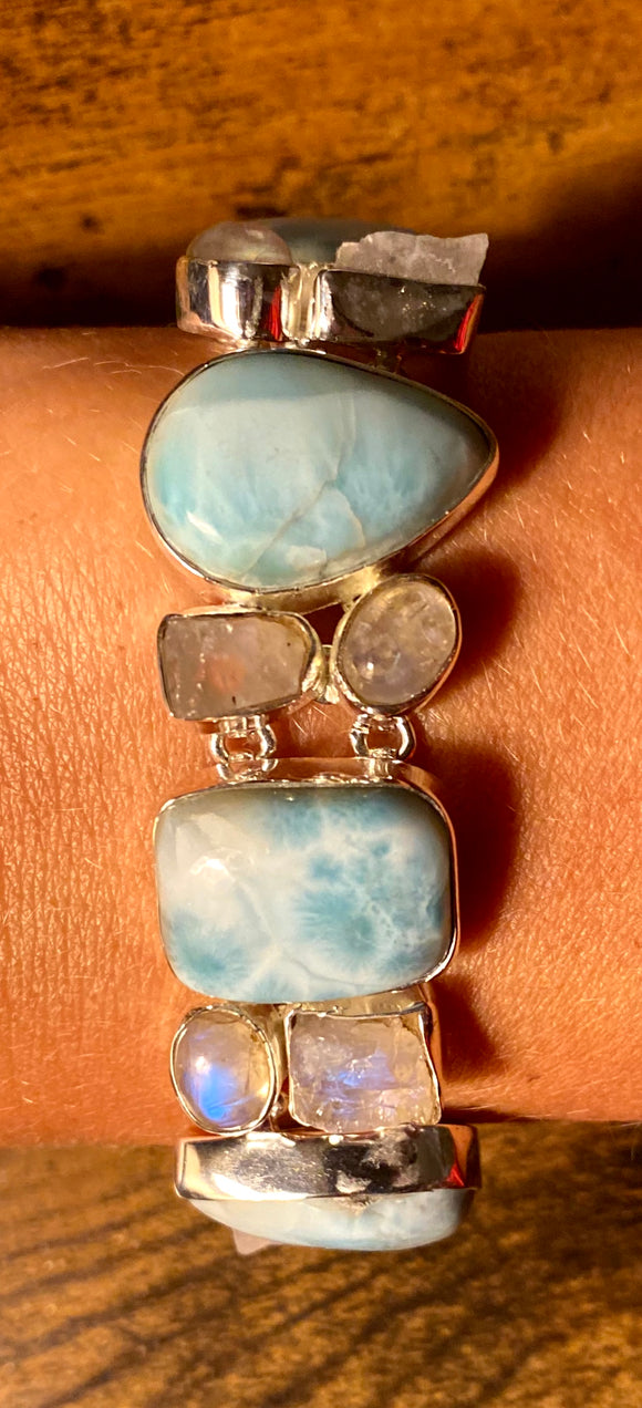 Larimar-Moonstone Bracelet set in Sterling Silver
