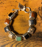 Multi Natural Stone Bracelet set in Sterling Silver