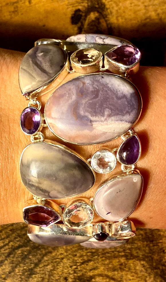 Tiffany Jasper-Amethyst-Crystal Quartz Bracelet set in Sterling Silver