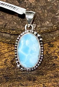 Larimar Pendant set in Sterling Silver