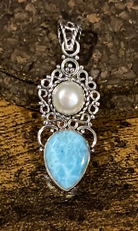 Larimar and Pearl Pendant set in Sterling Silver