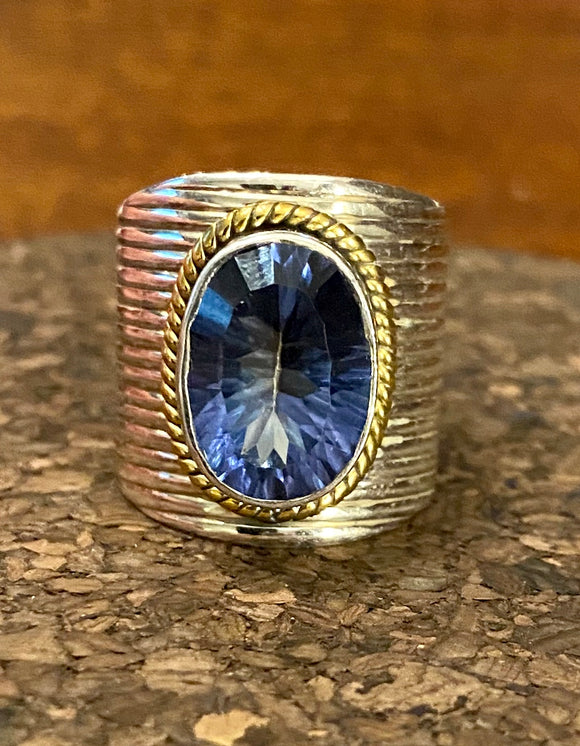 2-Tone Blue Mystic Topaz Ring set in Sterling Silver