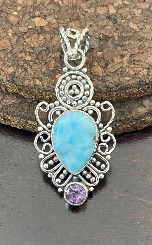 Larimar and Amethyst Pendant set in Sterling Silver