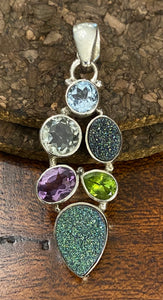 Druzy and Semi-Precious Stone Pendant set in Sterling Silver