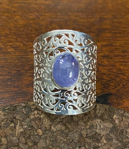 Tanzanite Cab Stone Ring set in Sterling Silver