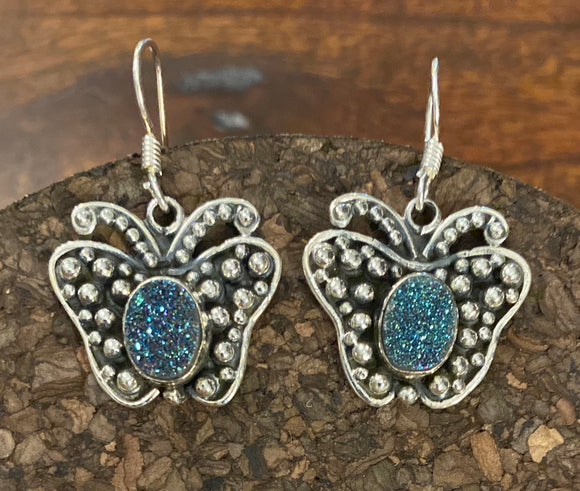 Butterfly Druzy Earring set in Sterling Silver available in other stones