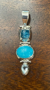 Chalcedony-Turquoise-Blue Topaz Pendant set in Sterling Silver