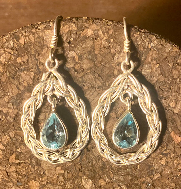 Sky Blue Topaz Earrings set in Sterling Silver