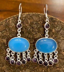Chalcedony and Amethyst Earrings set in Sterling Silver
