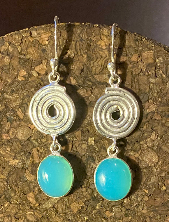 Chalcedony Earrings set in Sterling Silver also available in other stones.