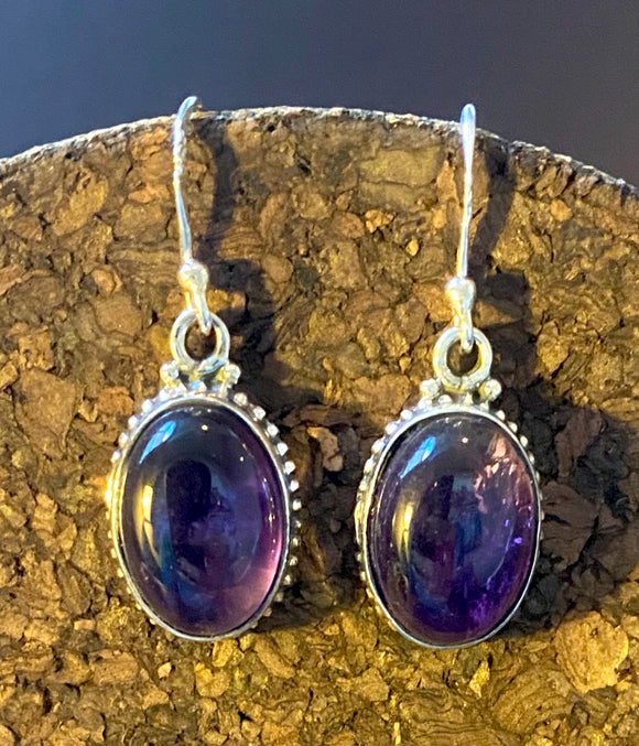 Amethyst Earrings set in Sterling Silver also available in other stones