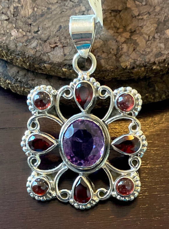 Amethyst and Garnet Pendant set in Sterling Silver