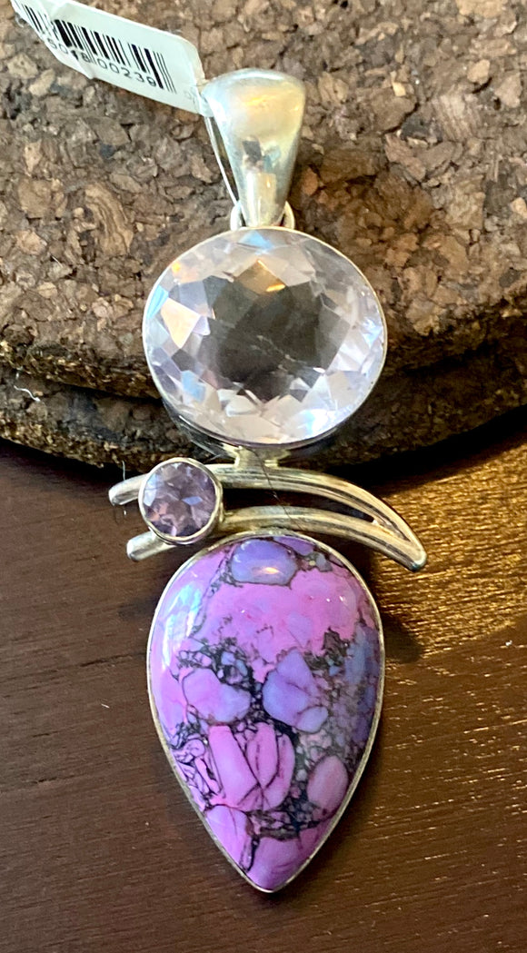Purple Copper Turquoise Pendant set in Sterling Silver