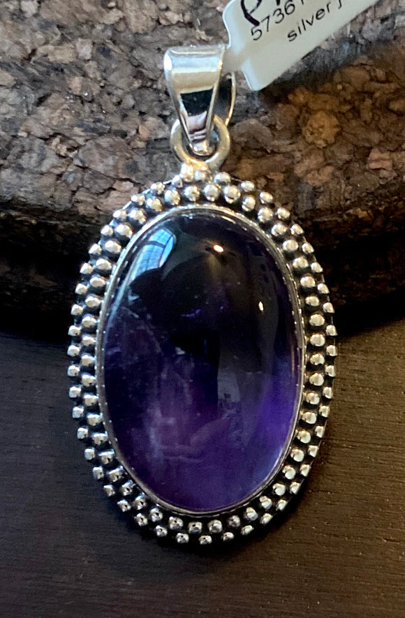 Amethyst Pendant set in Sterling Silver also available in other stones