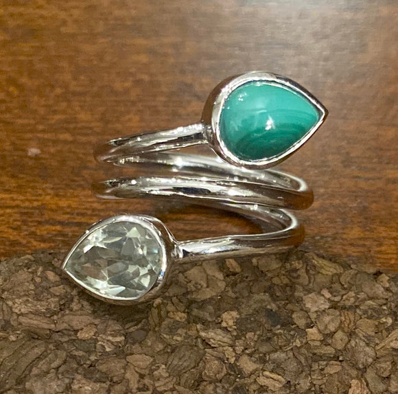 Green Amethyst and Malachite Rings set in Sterling Silver