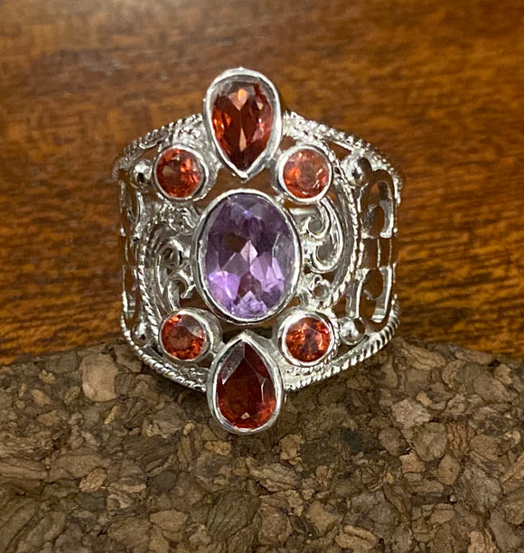 Garnet and Amethyst Ring set in Sterling Silver