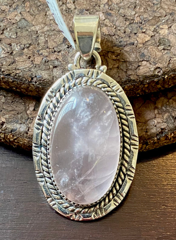 Rose Quartz Pendant set in Sterling Silver