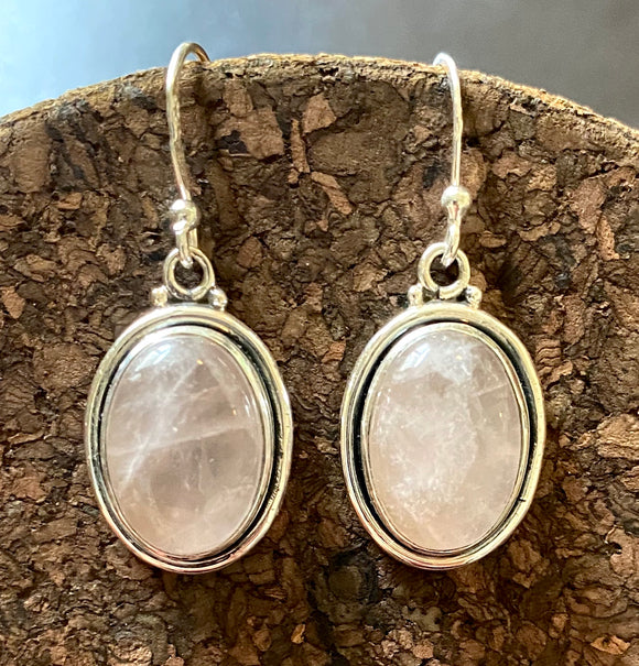 Rose Quartz Earrings set in Sterling Silver also available in other stones