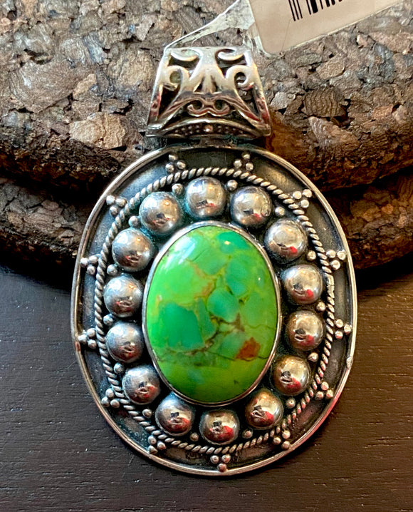 Green Copper Turquoise Pendant set in Sterling Silver