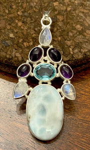 Larimar Cluster Pendant set in Sterling Silver