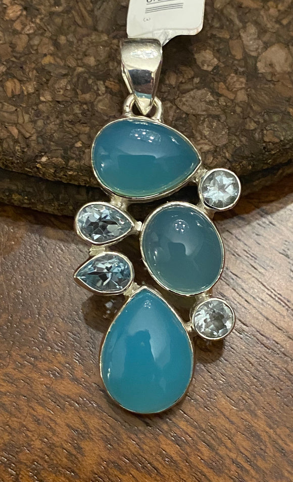 Chaldedony and Blue Topaz Pendant set in Sterling Silver