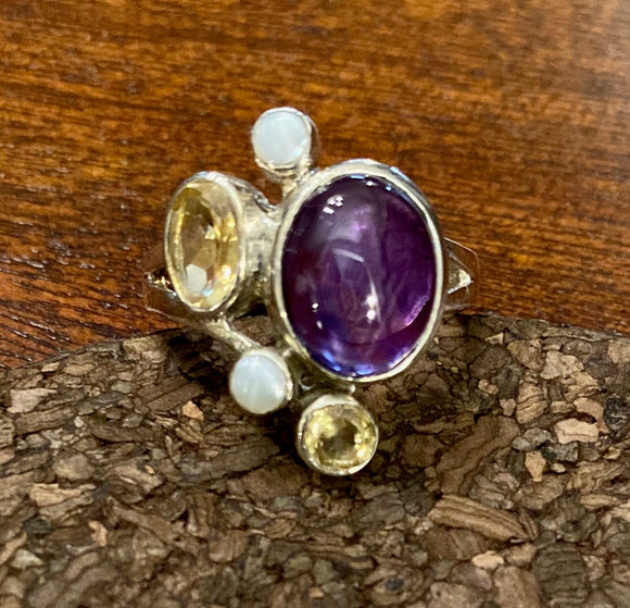 Amethyst Cab Ring set in Sterling Silver