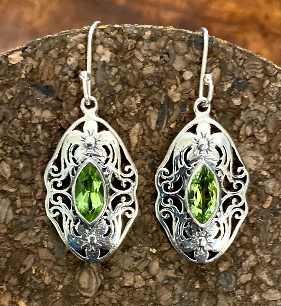 Peridot Earrings set in Sterling Silver