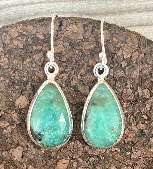 Chrysoprase Earrings set in Sterling Silver