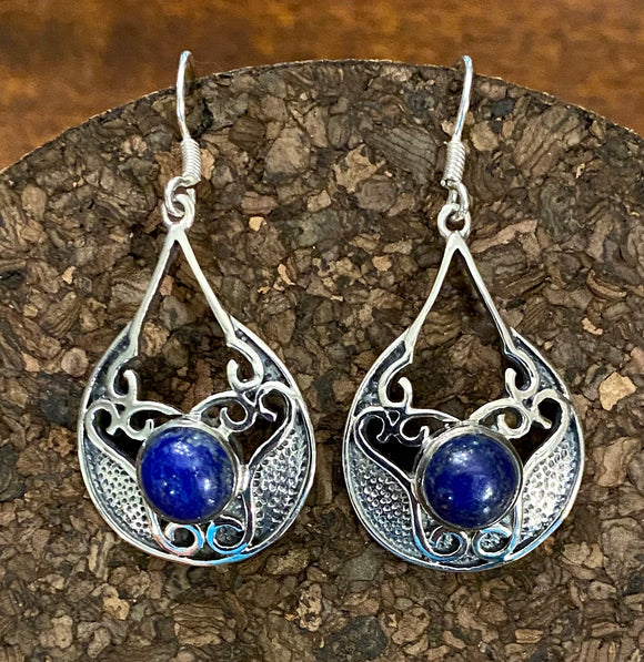 Lapis Earring set in Sterling Silver
