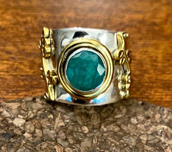 Emerald Cab Ring set in Sterling Silver