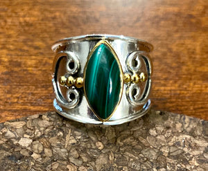 Malachite Ring set in Sterling Silver