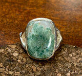 Moss Agate Ring set in Sterling Silver also in Black Rutile