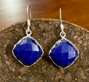 Sapphire Cab earrings set in Sterling Silver