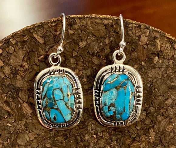Blue Copper Turquoise Earrings set in Sterling Silver