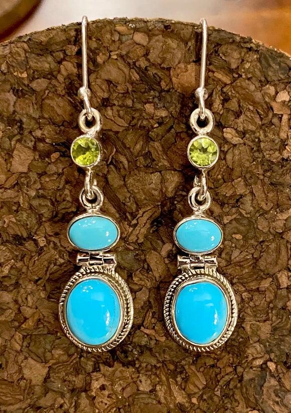 Peridot and Turquoise Earrings set in Sterling Silver
